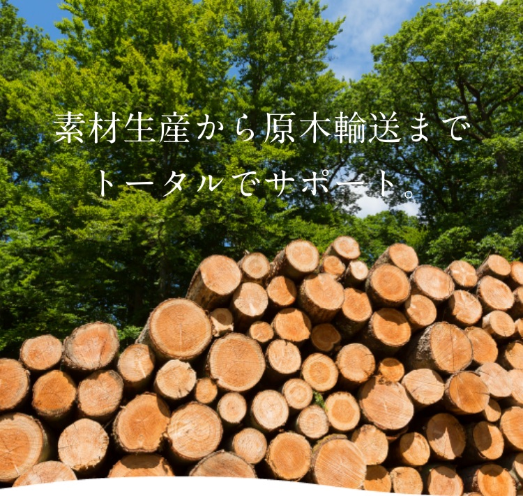 素材生産から原木輸送までトータルでサポート。